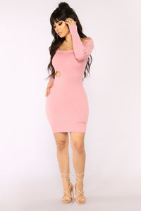 Harlow Frayed Off Shoulder Dress - Pink