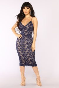 All About Me Midi Dress - Navy Angle 1