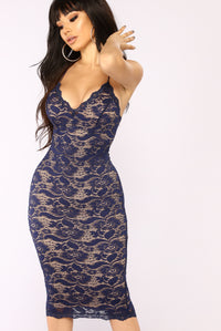All About Me Midi Dress - Navy Angle 2