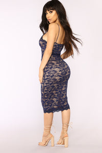 All About Me Midi Dress - Navy Angle 4