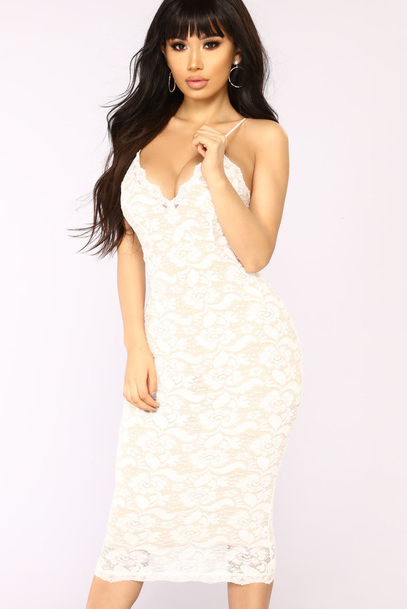 All About Me Midi Dress - White