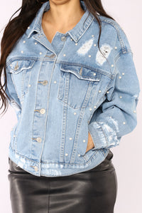 Show Me Your Pearls Denim Jacket - Light Blue Wash