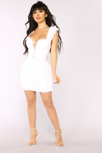 Ruff Around The Edges Ruched Dress - White Angle 2