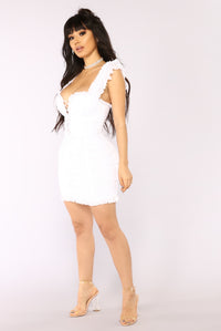 Ruff Around The Edges Ruched Dress - White Angle 3