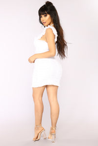 Ruff Around The Edges Ruched Dress - White Angle 5