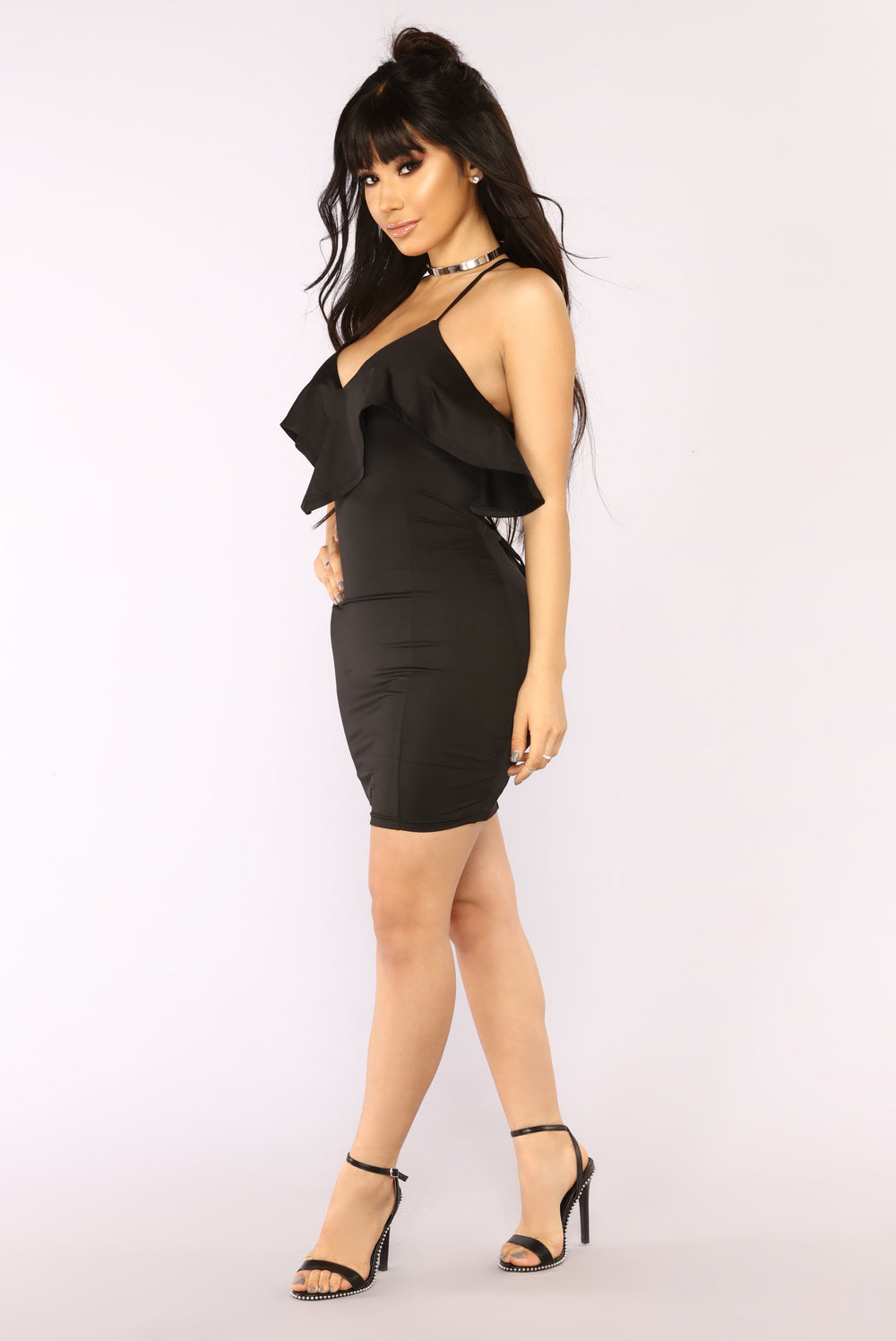 Forever Dancing Ruffle Dress - Black