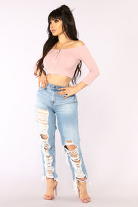 Get Close Cropped Top - Pink