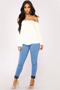 Softest Touch Off Shoulder Top - White