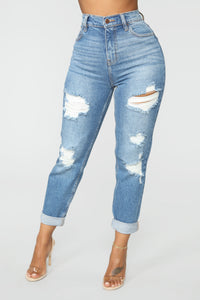 I Got It From My Mama Distressed Jeans - MediumBlueWash