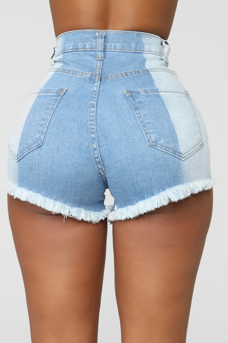 More Than Ordinary Distressed Shorts - Medium Blue Wash