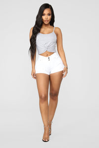 Brittany High Rise Shorts - White