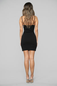 Run Away With Me Ribbed Mini Dress - Black