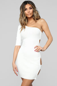 All Puffed Up One Shoulder Dress - White Angle 1