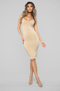 Take A Guess Midi Dress - Nude