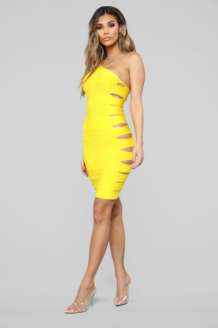 Side Piece Cut Out Bandage Dress - Yellow