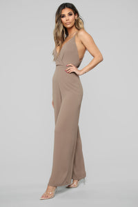 Subtle Touch Surplice Jumpsuit - Mocha