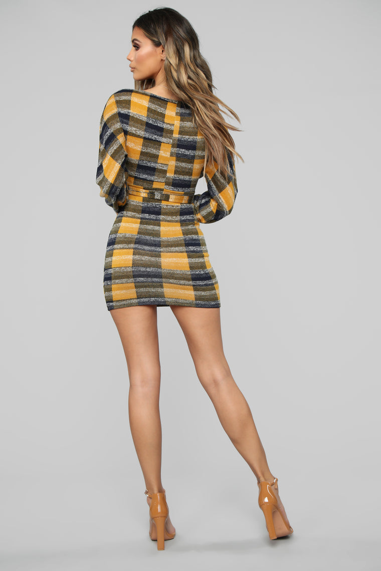 The Feeling's Right Sweater Dress - Mustard/Combo