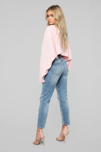 Meet Me Half Way Sweater - Blush