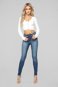 Button Love Ribbed Top - White