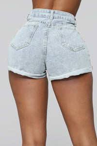 Let Loose Denim Shorts - Light Blue
