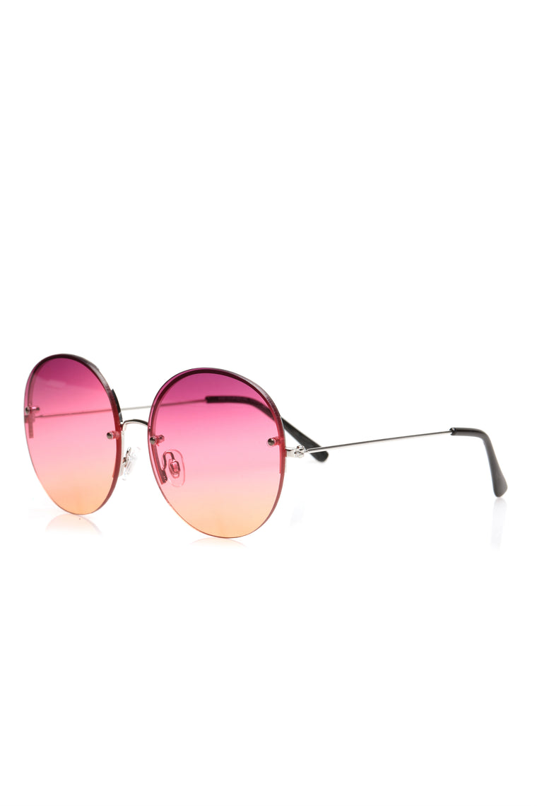 In All The Feels Sunglasses - Silver/purple