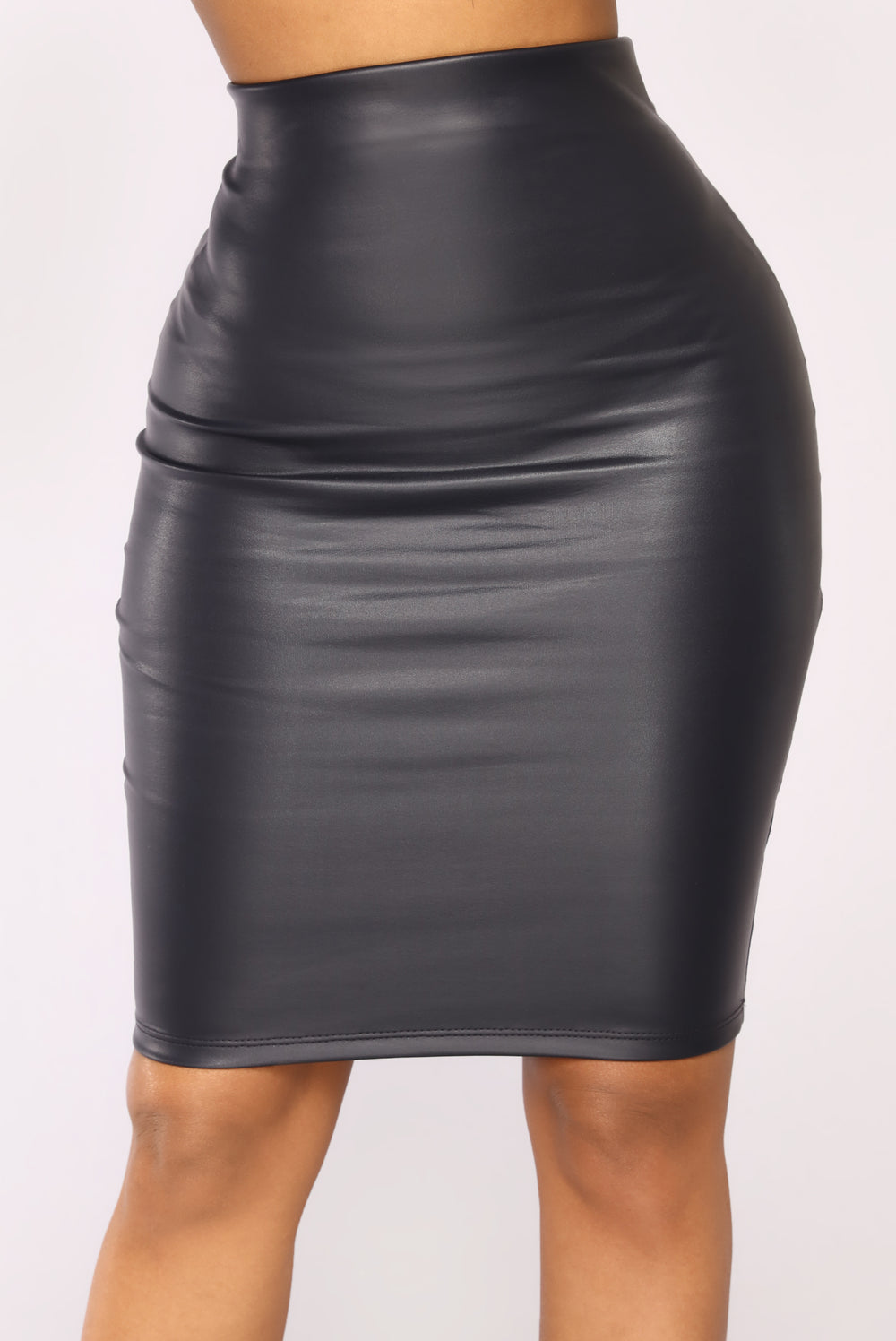 Agnesa Faux Leather Skirt - Navy