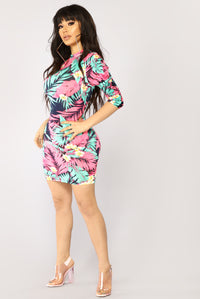 No Fear Mini Dress - Neon Pink