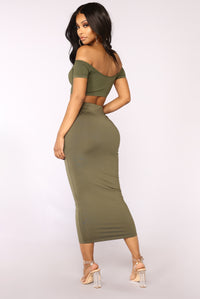 Crop Me Some Slack Off Shoulder Top - Olive