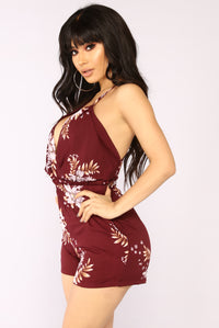 English Rose Romper - Wine Floral