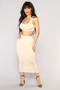 Eye Heart Sigh Skirt Set - Mocha/Taupe