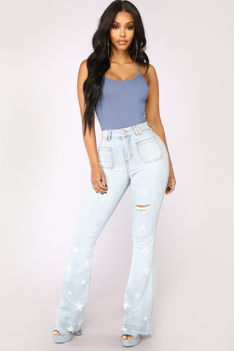 Starstruck Bell Bottom Jeans - Light Blue Wash