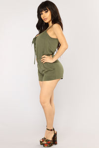Keep Your Cool Lace Up Romper - Olive