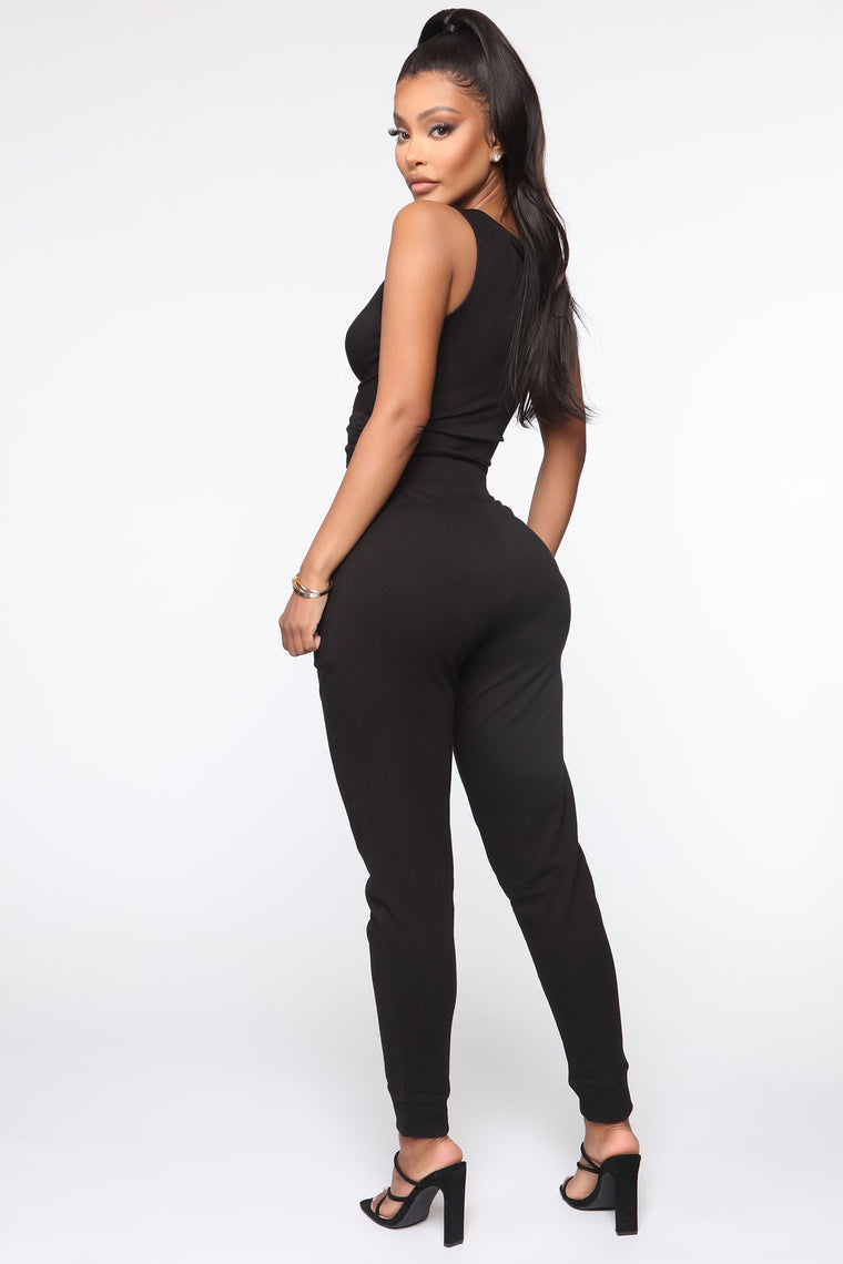 The Greatest Twist Tank And Jogger Set - Black