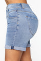 Affair Of The Heart Denim Mom Shorts - Medium Blue Wash