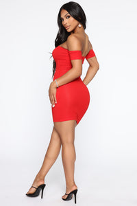 Simple Dreams Off Shoulder Mini Dress - Red Angle 3