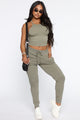 The Greatest Muscle Tank And Jogger Set - Olive
