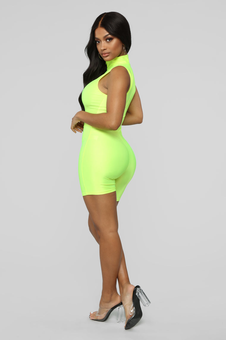 Sleepless Town Biker Short Romper - Neon Yellow