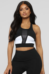 My Mind Is On Track Active Sports Bra - Black