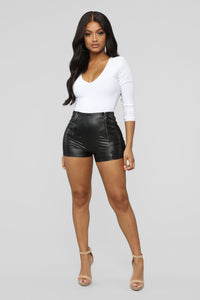 Party Girl PU Shorts - Black Angle 2