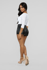 Party Girl PU Shorts - Black Angle 5