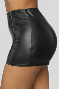 Party Girl PU Shorts - Black Angle 4