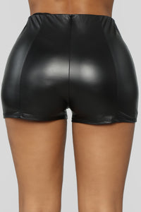 Party Girl PU Shorts - Black Angle 6