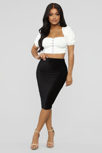 Almost Doesn't Count Midi Skirt - Black Angle 2