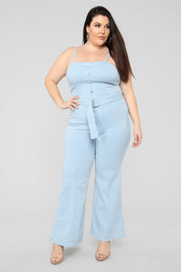 Hip To The Scene Denim Jumpsuit - Denim
