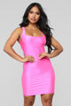 Mami Casual Square Neck Mini Dress - Neon Pink