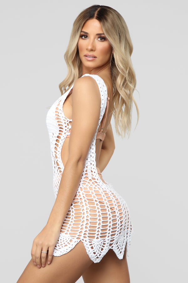 5270cc44dcf9e Bella Crochet Cover Up Dress - White