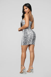 Behind Your Back Snake Mini Dress - Black/combo