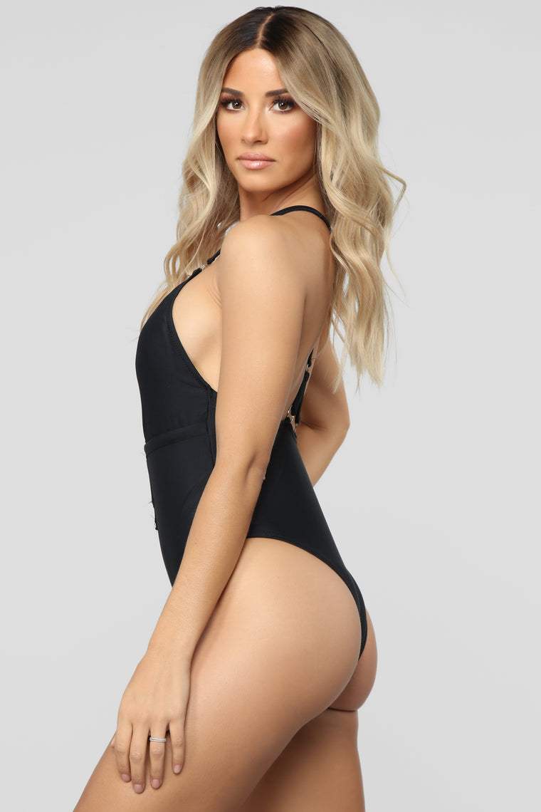 Watch Me Swim Cutout Swimsuit - Black