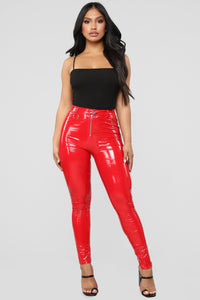 Never Get Attached Pants - Red Angle 1