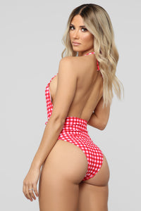 Just A Girl Gingham Swimsuit - Red/White Angle 2
